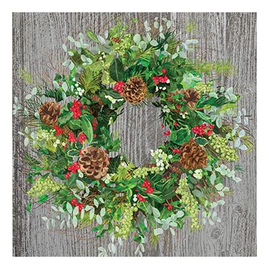 PPD.C3332585 Yuletide Wreath wood papírszalvéta 33x33cm, 20db-os