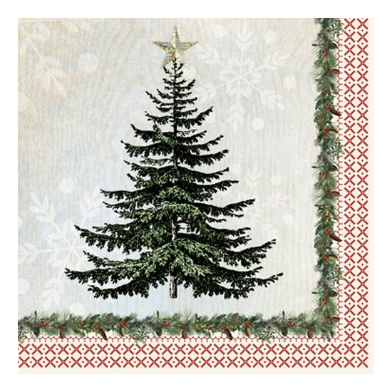 PPD.C3331709 Winter Lodge Tree Papírszalvéta 33x33cm,20db-os