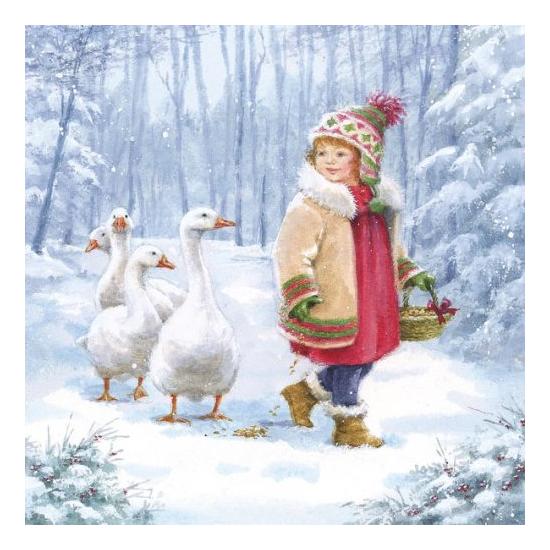 AMB.33304840 Emmy Feeding Geese papírszalvéta 33x33cm,20db-os