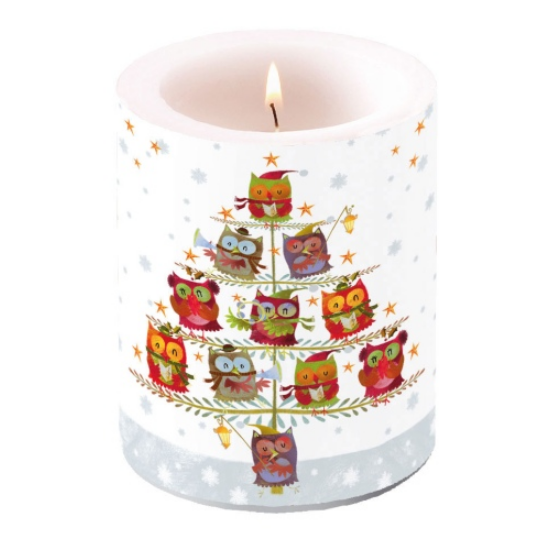 AMB.39105055 Christmas Tree with Owls átvilágítós gyertya 12x10cm