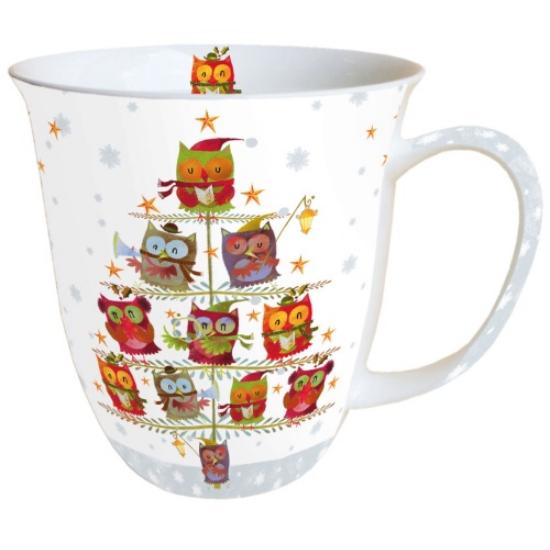 AMB.38405055 Christmas Tree with Owls porcelán bögre 0,4l