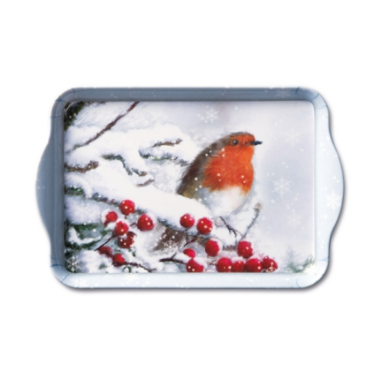 AMB.33705105 Robin in Snow műanyag kistálca 13x21cm