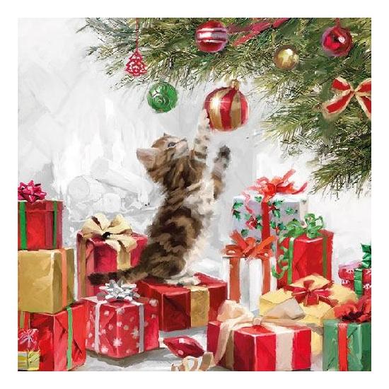 AMB.33310525 Kitten And Baubles Papírszalvéta 33x33cm,20db-os