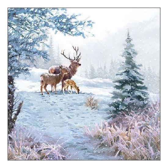 Deer Family Papírszalvéta 33x33 cm, 20 db-os