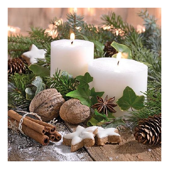 White Candles Papírszalvéta 33x33cm.20 db-os