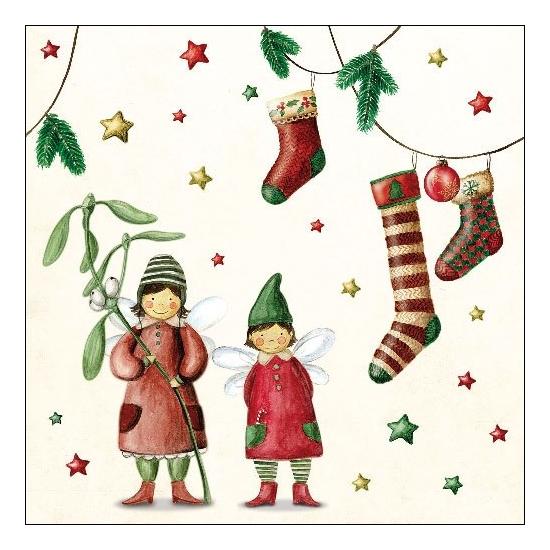 AMB.33310900 Christmas Fairies papírszalvét 33x33cm,20db-os