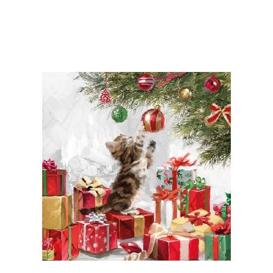 Kitten And Bauble papírszalvéta 25x25 cm, 20 db-os