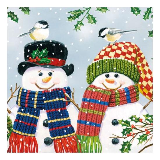 AMB.33305095 Snowman Couple papírszalvéta 33x33cm,20db-os