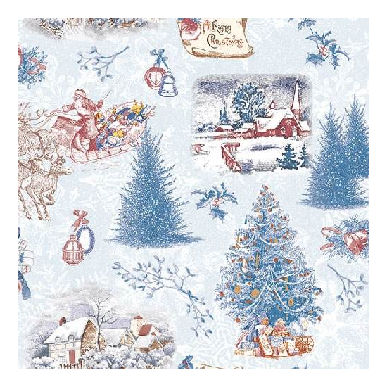 AMB.33310841 Nostalgic Christmas Blue Papírszalvéta 33x33cm,20db-os