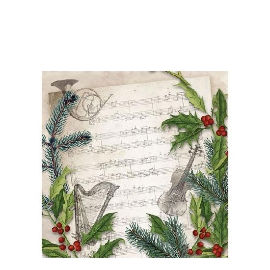 AMB.32510860 Christmas Song papírszalvéta 25x25cm,20db-os