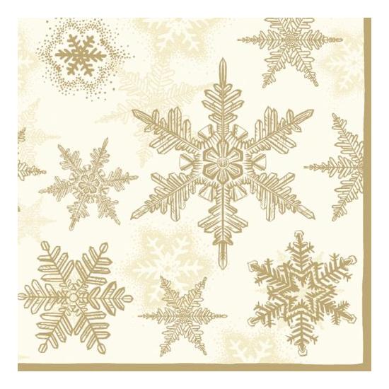 Snow Crystals gold papírszalvéta 33x33 cm, 20 db-os