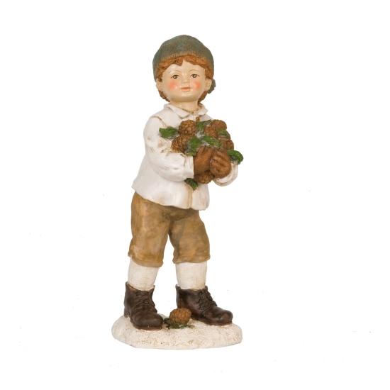 Dekor figura müanyag, 22cm,  fiú tobozokkal