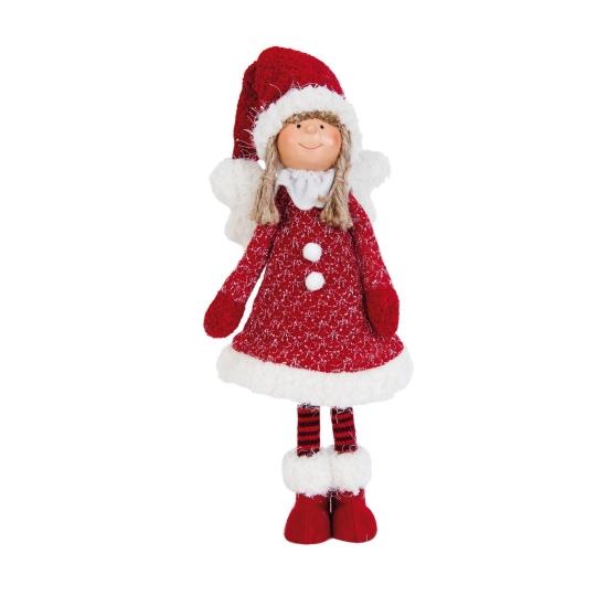 Textil angyallány piros ruhás, sapkás 15x8x44cm