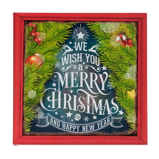 Fa kép 30x1x30cm, We wish you a merry christmas
