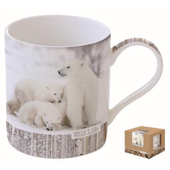 R2S.282WLWB Porcelán bögre dobozban 350ml,Wild Life-White Bears