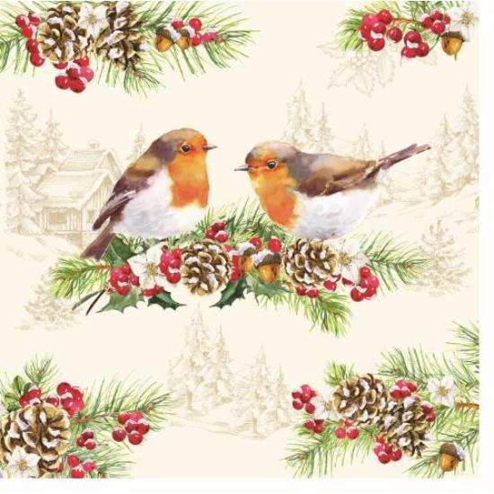 Papírszalvéta 33x33cm, Winter Robin