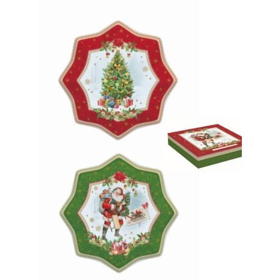 R2S.1001VINC porcelán süteményes tányérszett 20cm,S/2,dobozban,Vintage Christmas