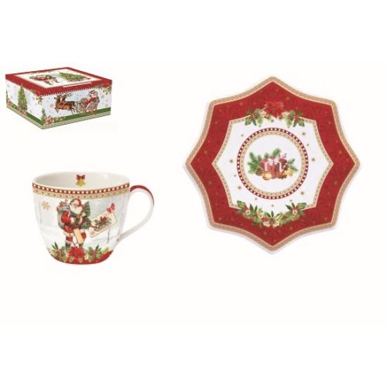 R2S.1012VINR Porcelán teáscsésze+alj 250ml,dobozban,Vintage Christmas