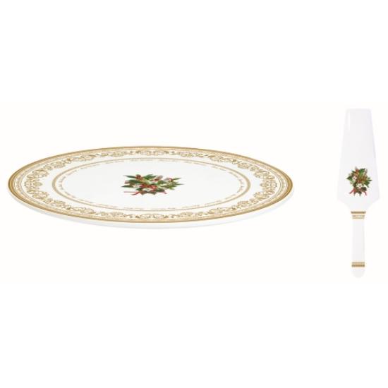 Porcelán tortatál lapáttal - 32 cm - Christmas Holly